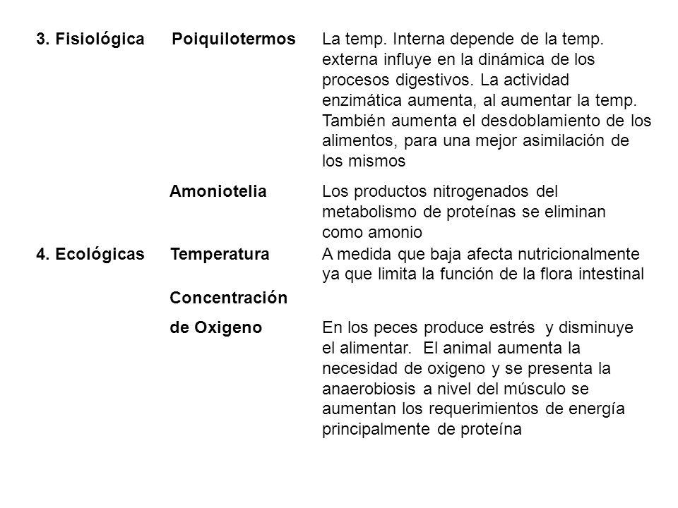3. Fisiológica Poiquilotermos. La temp. Interna depende de la temp