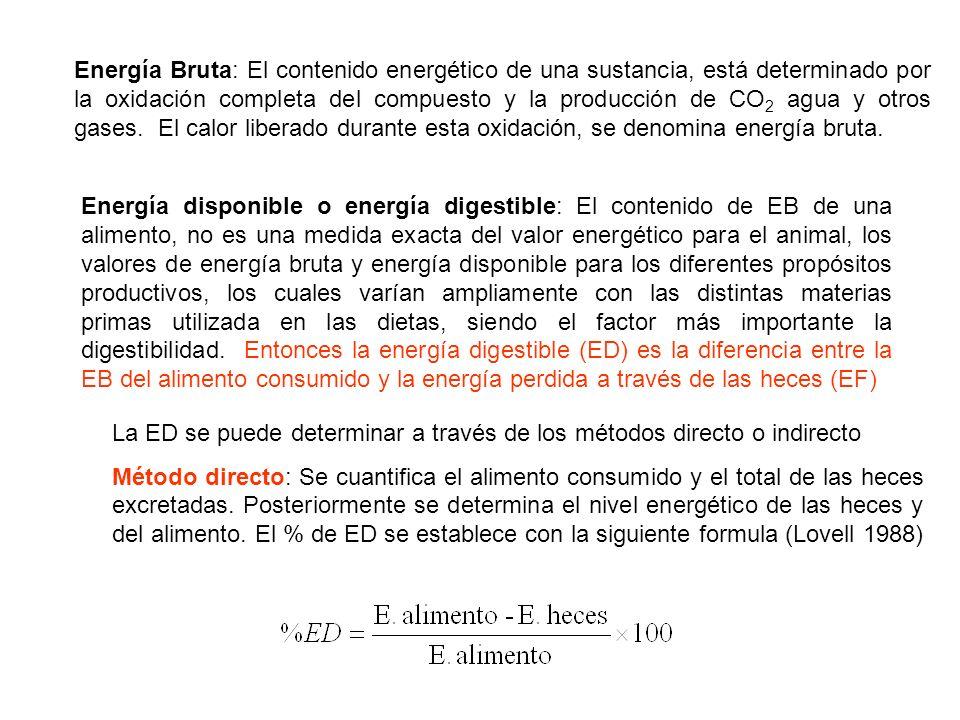 Energía Bruta: El contenido energético de una sustancia, está determinado por la oxidación completa del compuesto y la producción de CO2 agua y otros gases. El calor liberado durante esta oxidación, se denomina energía bruta.