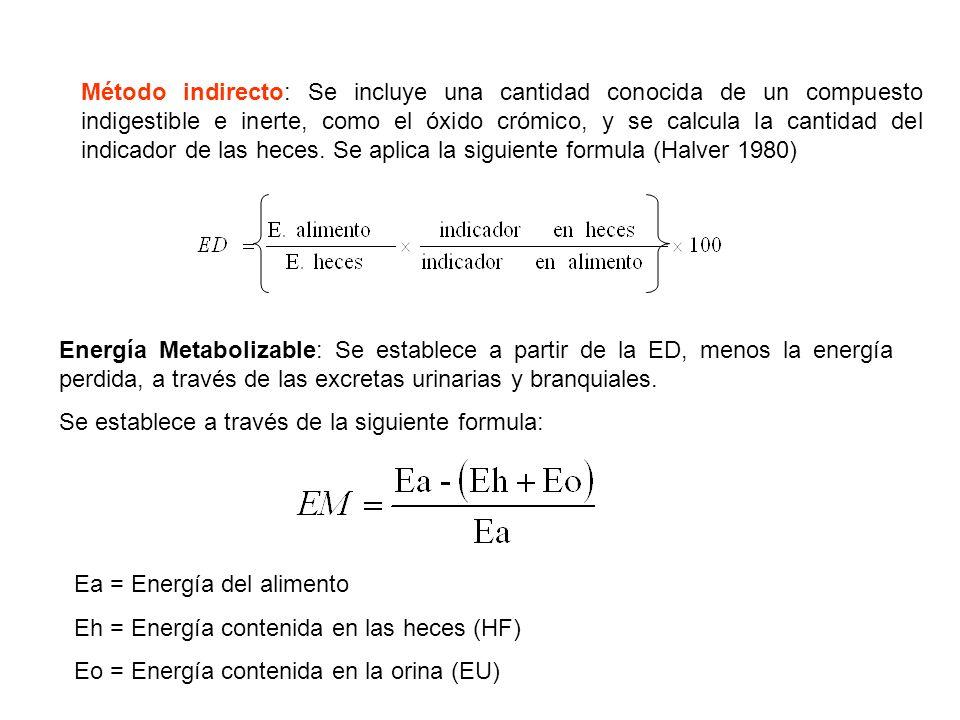 Método indirecto: Se incluye una cantidad conocida de un compuesto indigestible e inerte, como el óxido crómico, y se calcula la cantidad del indicador de las heces. Se aplica la siguiente formula (Halver 1980)