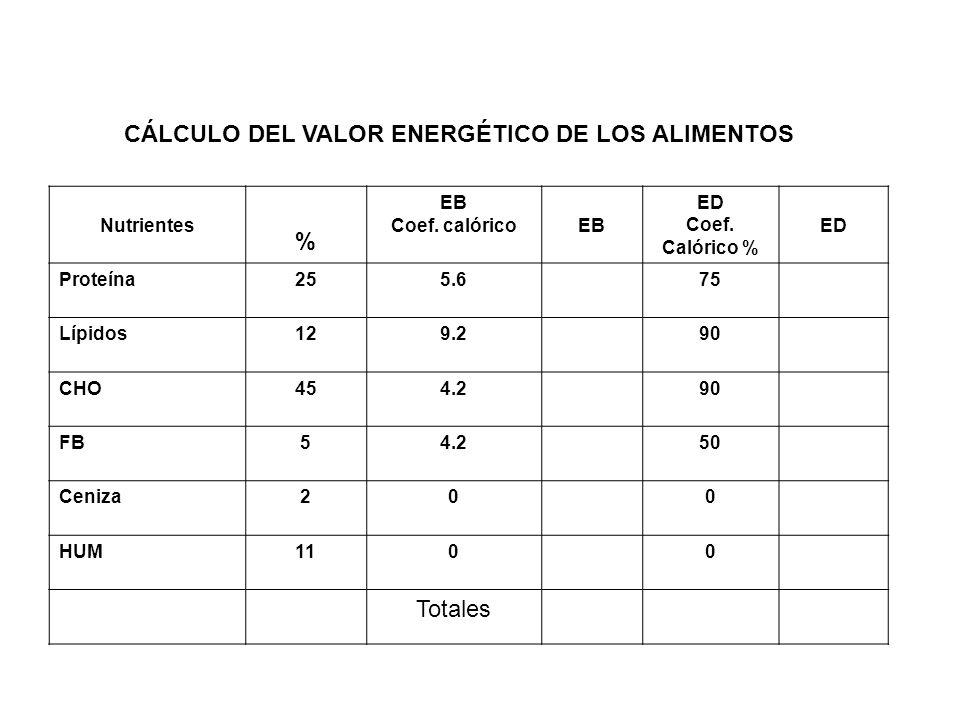 CÁLCULO DEL VALOR ENERGÉTICO DE LOS ALIMENTOS %