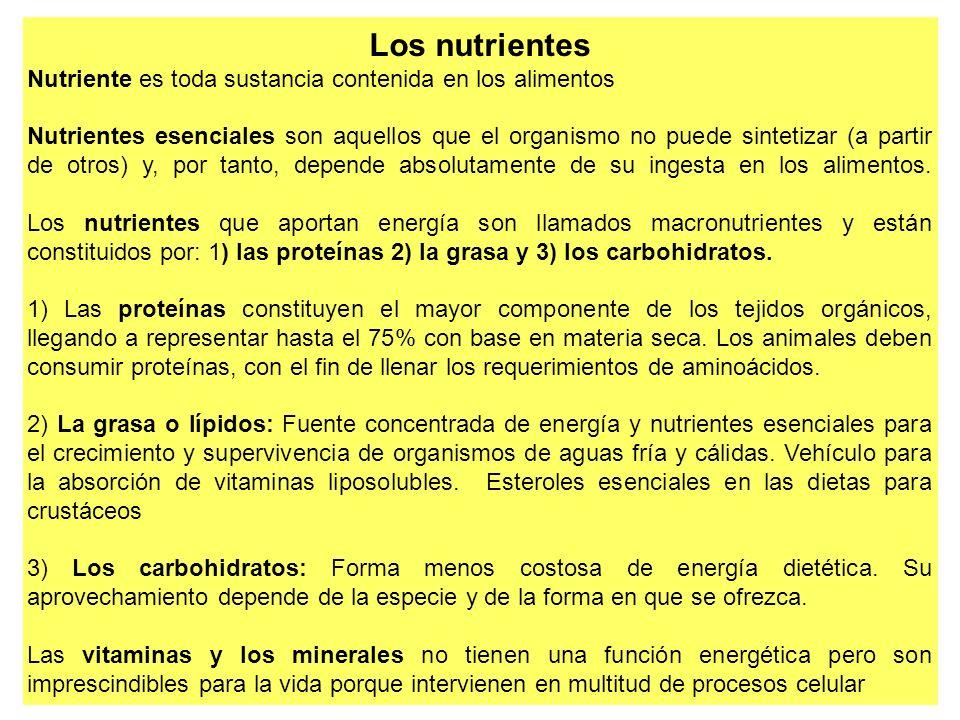 Los nutrientes Nutriente es toda sustancia contenida en los alimentos