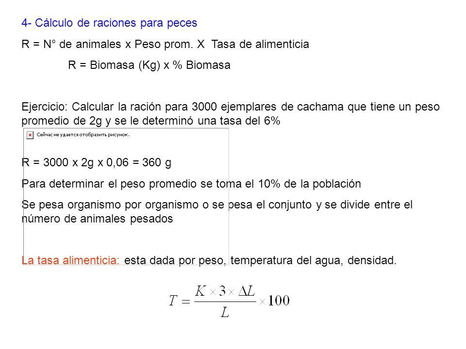 4- Cálculo de raciones para peces