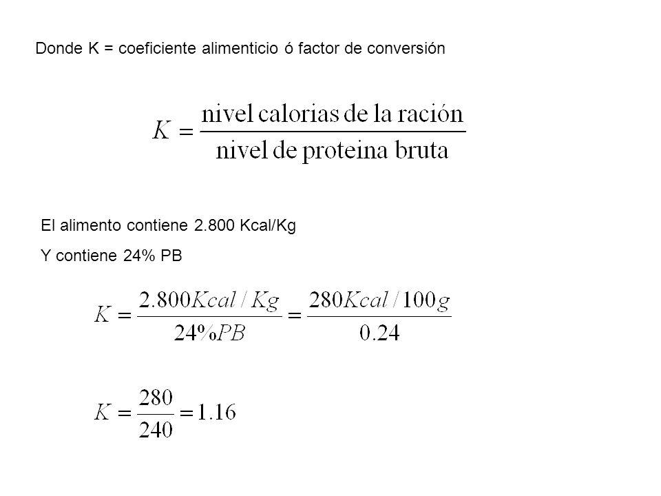 Donde K = coeficiente alimenticio ó factor de conversión