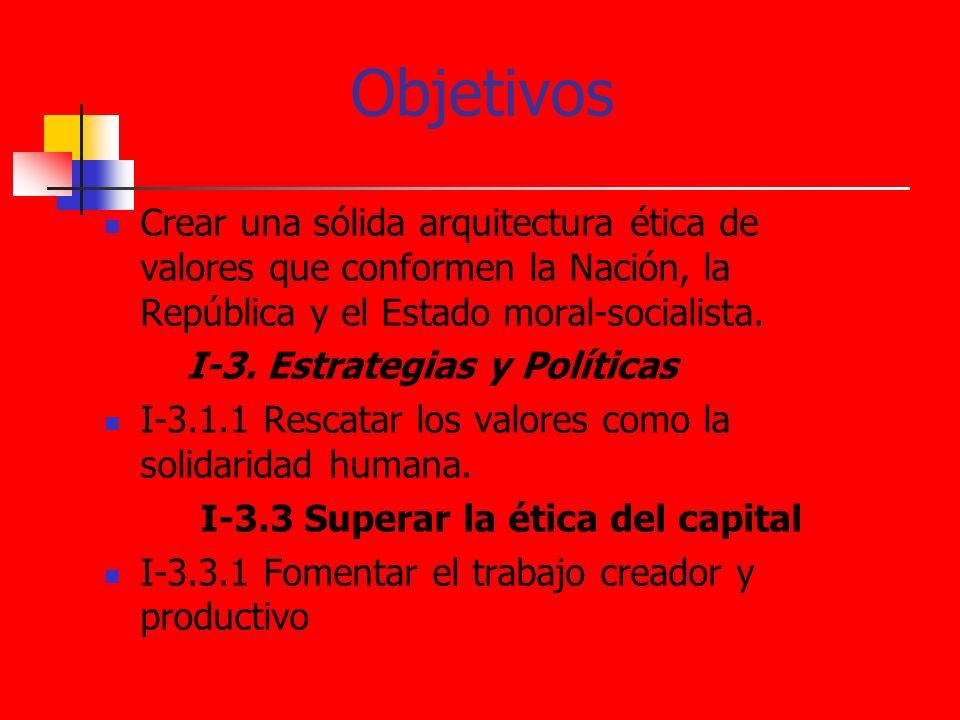 ObjetivosCrear una sólida arquitectura ética de valores que conformen la Nación, la República y el Estado moral-socialista.