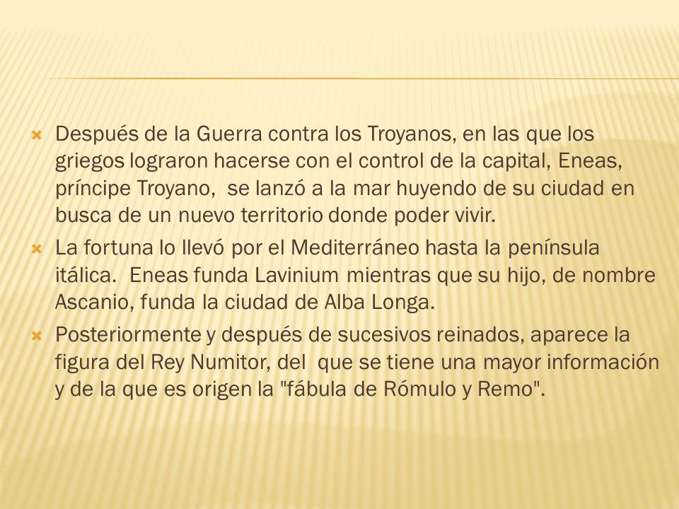 Después de la Guerra contra los Troyanos, en las que los griegos lograron hacerse con el control de la capital, Eneas, príncipe Troyano, se lanzó a la mar huyendo de su ciudad en busca de un nuevo territorio donde poder vivir.