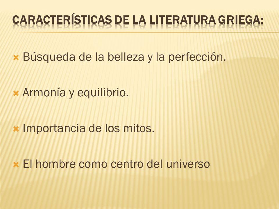 Características de la literatura griega: