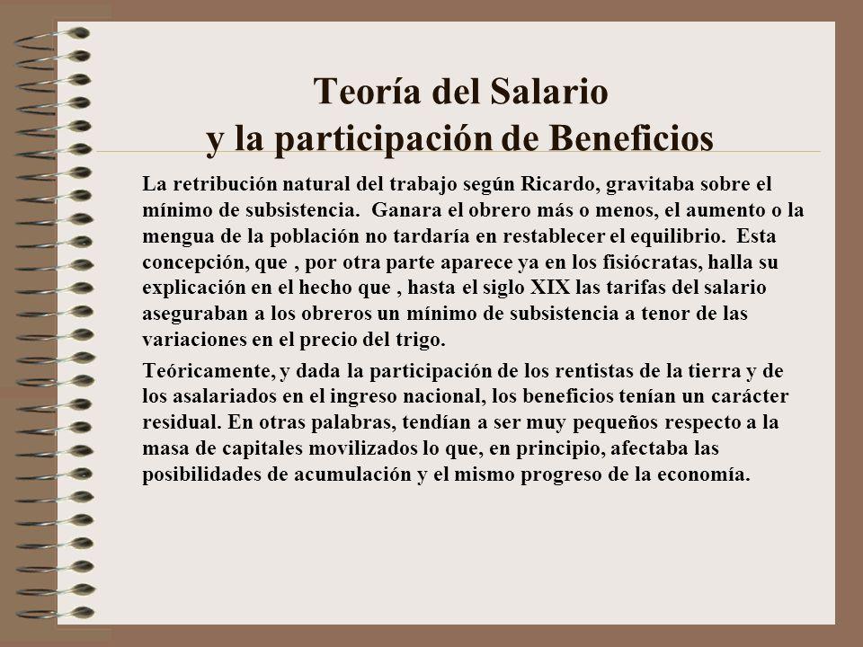 Teoría del Salario y la participación de Beneficios
