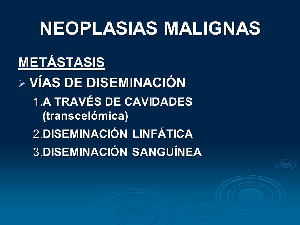 NEOPLASIAS MALIGNAS METÁSTASIS VÍAS DE DISEMINACIÓN