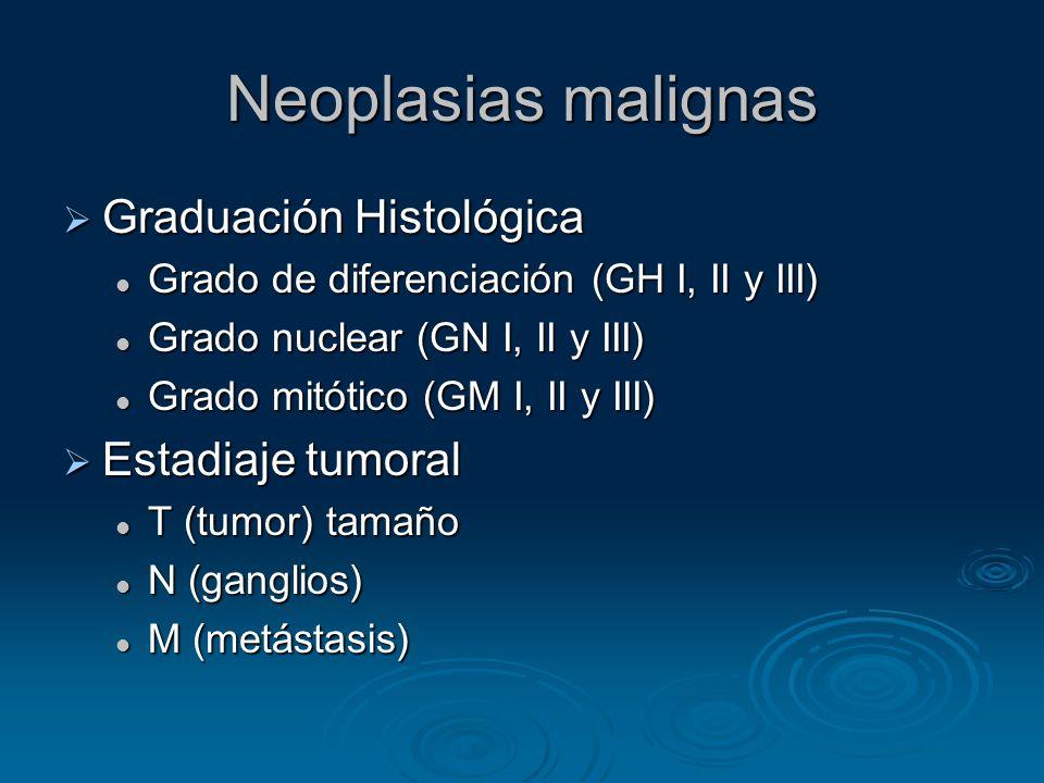 Neoplasias malignas Graduación Histológica Estadiaje tumoral