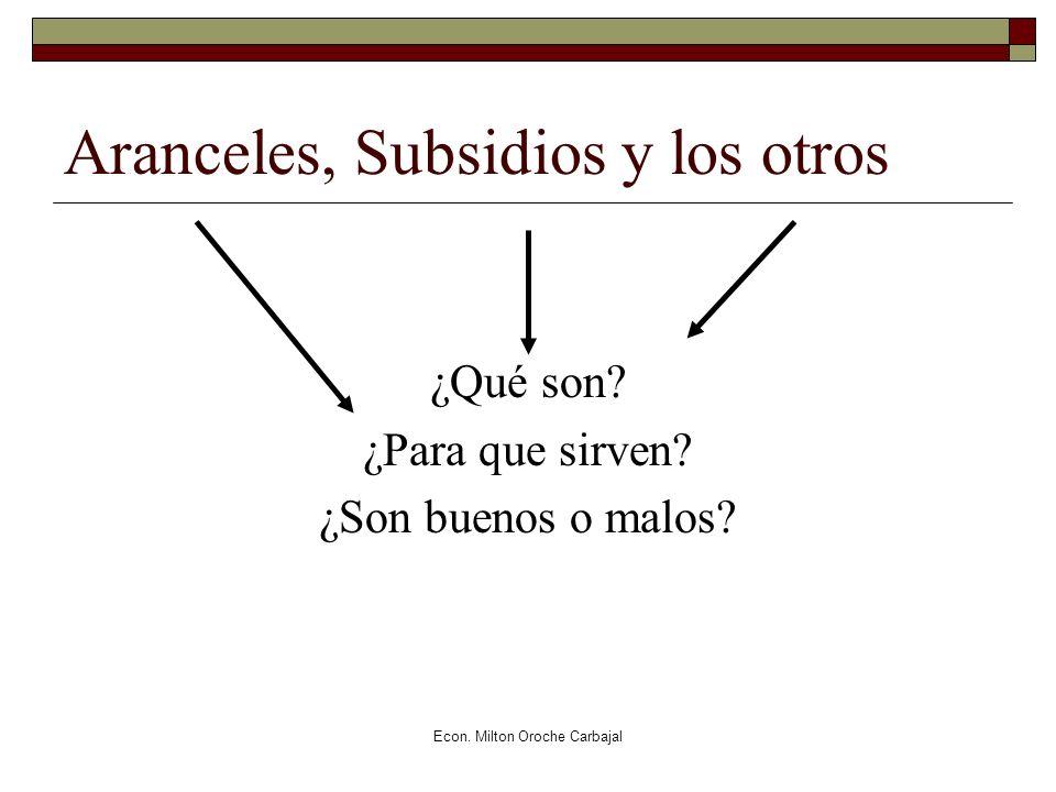 Aranceles, Subsidios y los otros