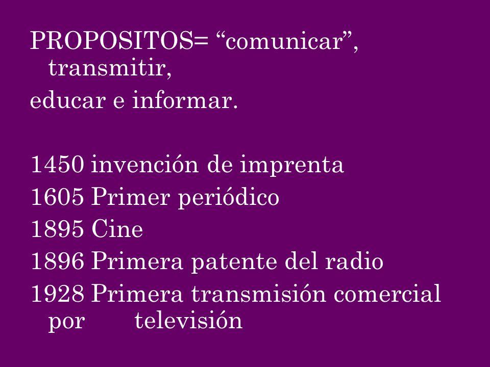 PROPOSITOS= comunicar , transmitir,