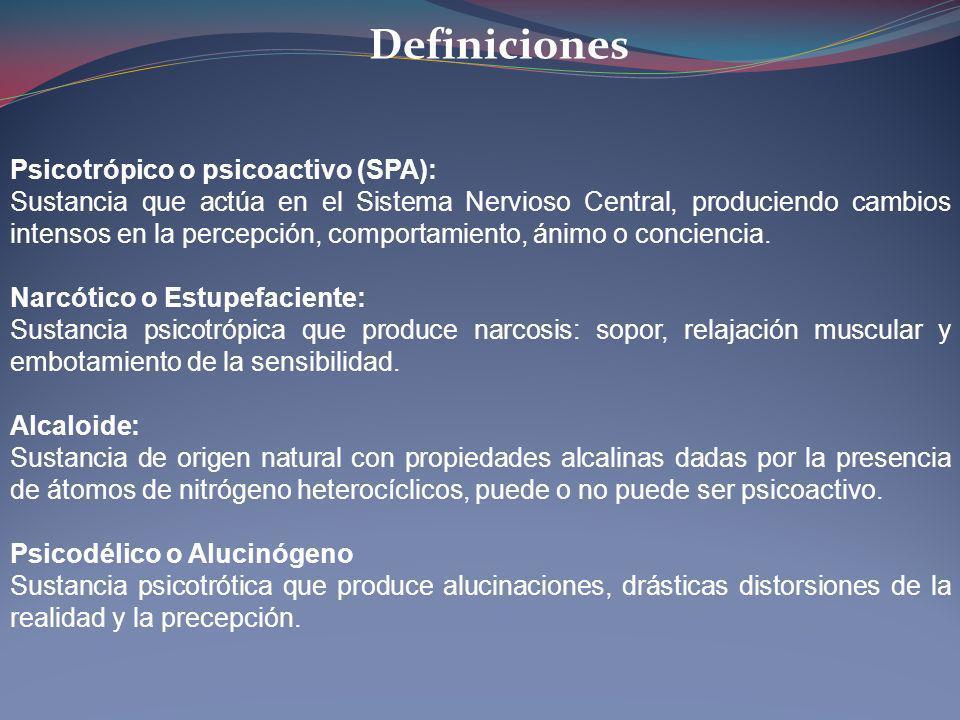 Definiciones Psicotrópico o psicoactivo (SPA):