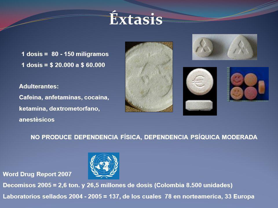 Éxtasis 1 dosis = 80 - 150 miligramos 1 dosis = $ 20.000 a $ 60.000