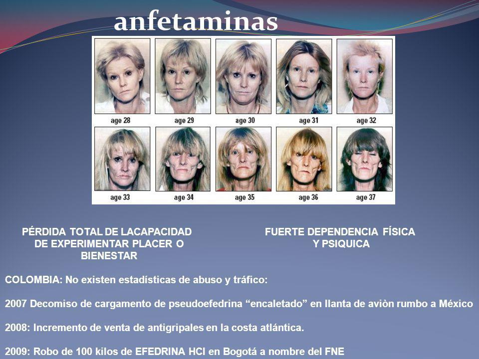 anfetaminas PÉRDIDA TOTAL DE LACAPACIDAD DE EXPERIMENTAR PLACER O