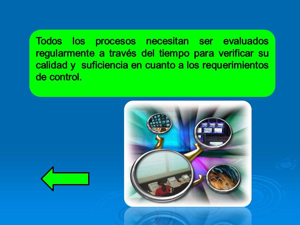 Todos los procesos necesitan ser evaluados regularmente a través del tiempo para verificar su calidad y suficiencia en cuanto a los requerimientos de control.