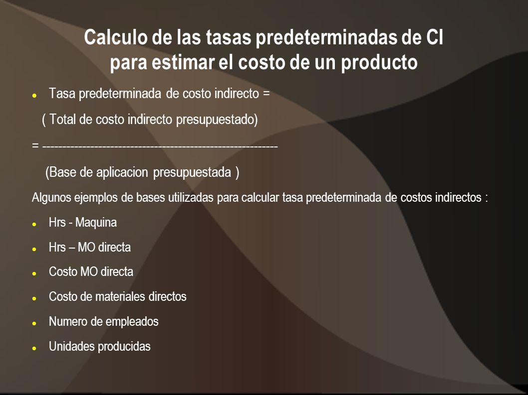 Calculo de las tasas predeterminadas de CI para estimar el costo de un producto