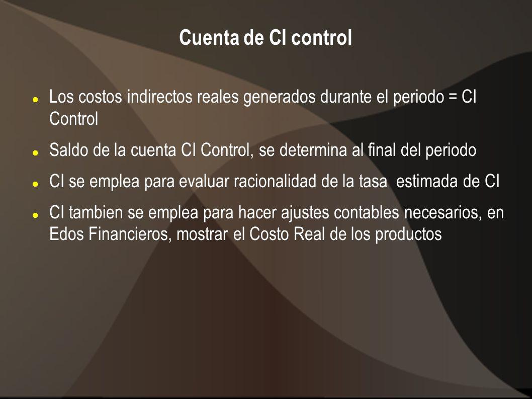 Cuenta de CI control Los costos indirectos reales generados durante el periodo = CI Control.