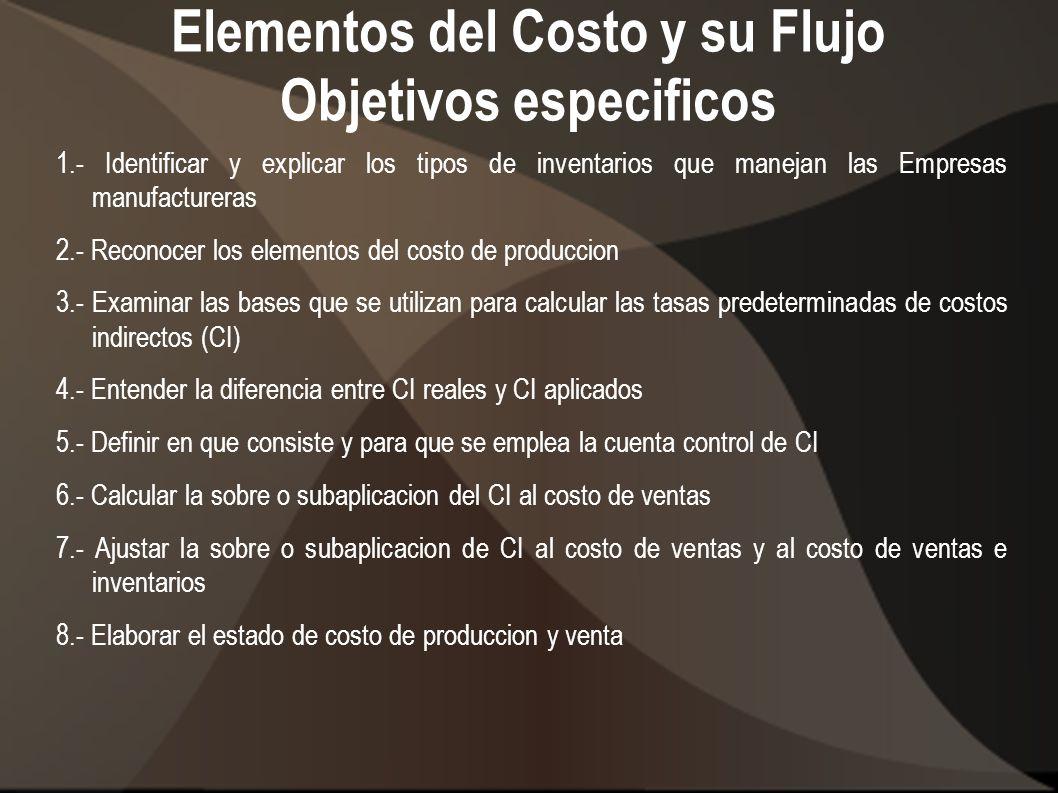 Elementos del Costo y su Flujo Objetivos especificos