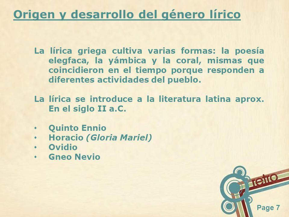 Origen y desarrollo del género lírico