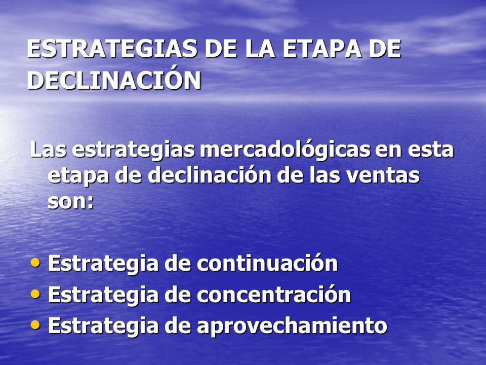 ESTRATEGIAS DE LA ETAPA DE DECLINACIÓN