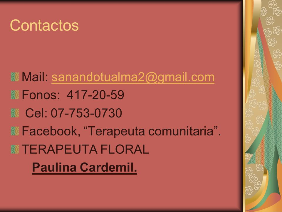 Contactos Mail: sanandotualma2@gmail.com Fonos: 417-20-59
