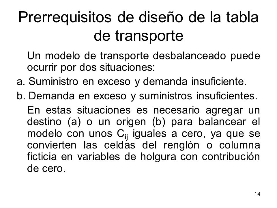 Prerrequisitos de diseño de la tabla de transporte