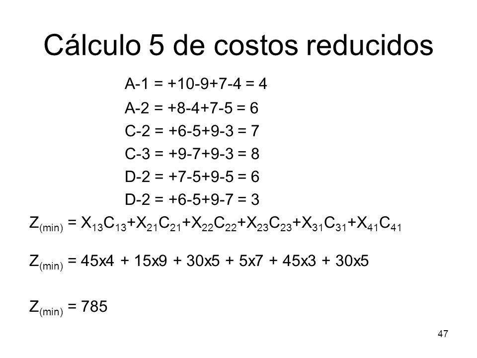 Cálculo 5 de costos reducidos