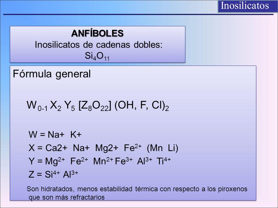 ANFÍBOLES Inosilicatos de cadenas dobles: Si4O11