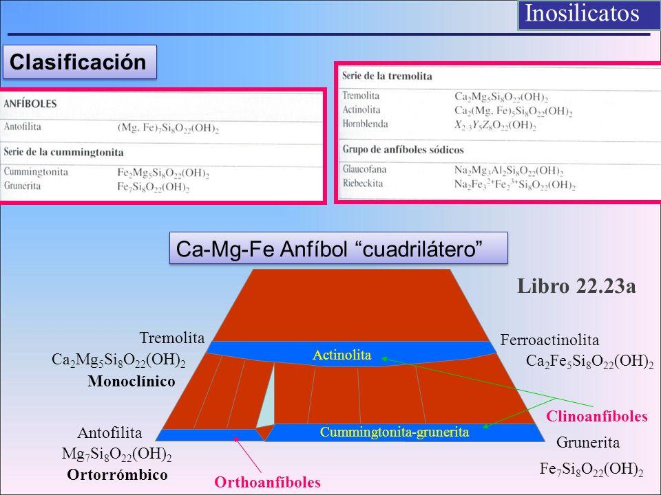 Inosilicatos Clasificación Ca-Mg-Fe Anfíbol cuadrilátero
