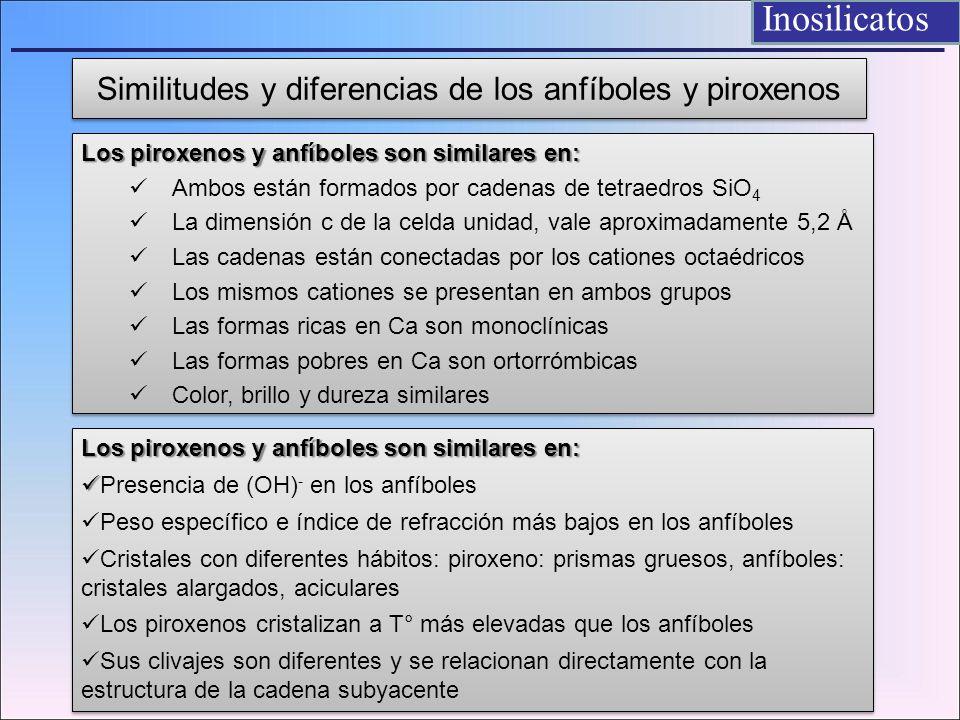 Similitudes y diferencias de los anfíboles y piroxenos