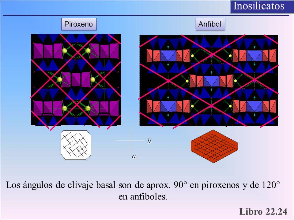 Inosilicatos Piroxeno. Anfíbol. b. a. Los ángulos de clivaje basal son de aprox. 90° en piroxenos y de 120° en anfíboles.