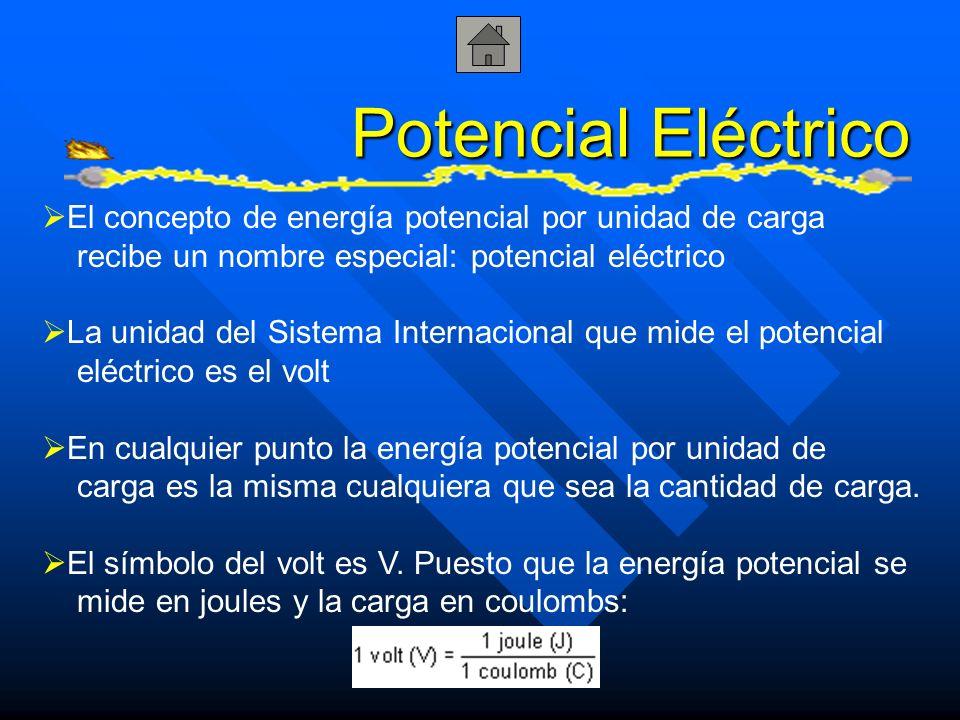 Potencial Eléctrico El concepto de energía potencial por unidad de carga. recibe un nombre especial: potencial eléctrico.