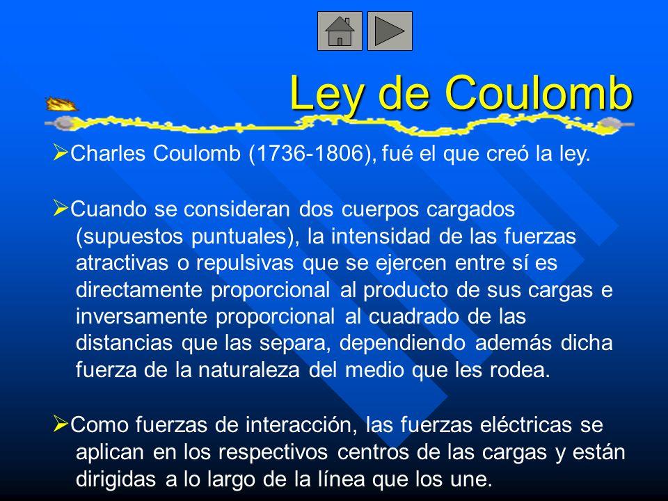 Ley de Coulomb Charles Coulomb (1736-1806), fué el que creó la ley.
