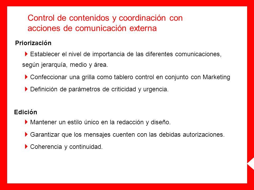 Control de contenidos y coordinación con acciones de comunicación externa
