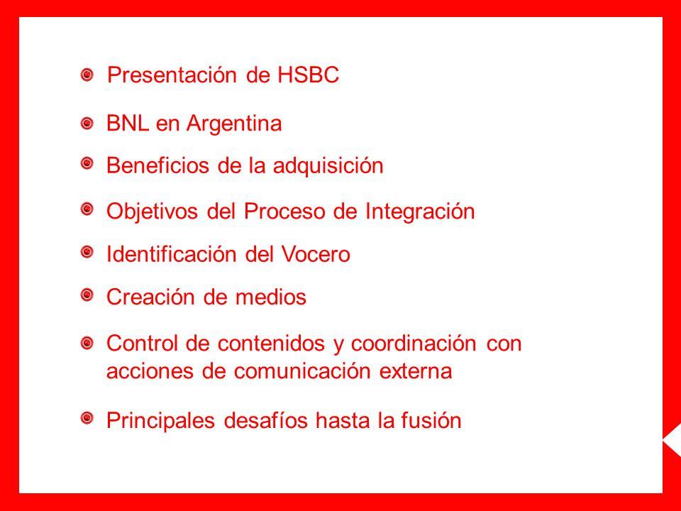 Presentación de HSBCBNL en Argentina. Beneficios de la adquisición. Objetivos del Proceso de Integración.
