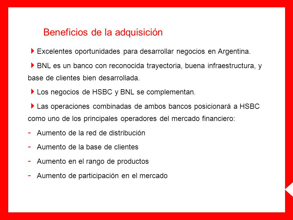 Beneficios de la adquisición