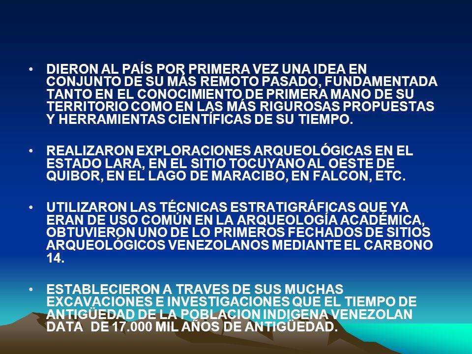 DIERON AL PAÍS POR PRIMERA VEZ UNA IDEA EN CONJUNTO DE SU MÁS REMOTO PASADO, FUNDAMENTADA TANTO EN EL CONOCIMIENTO DE PRIMERA MANO DE SU TERRITORIO COMO EN LAS MÁS RIGUROSAS PROPUESTAS Y HERRAMIENTAS CIENTÍFICAS DE SU TIEMPO.