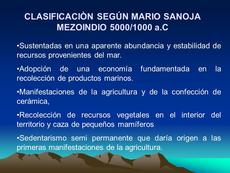 CLASIFICACIÒN SEGÚN MARIO SANOJA