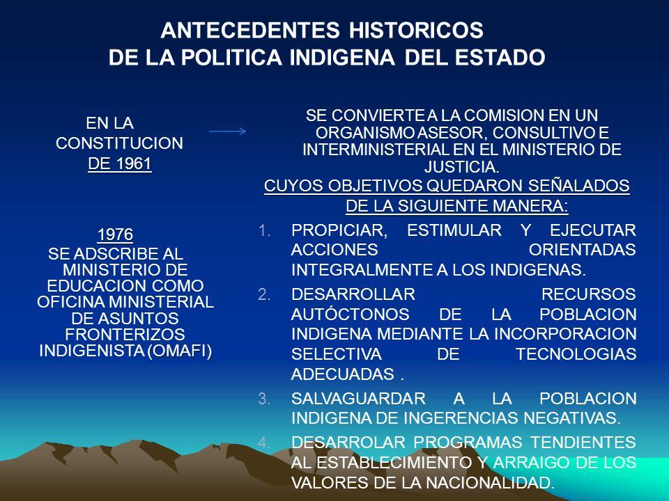 ANTECEDENTES HISTORICOS DE LA POLITICA INDIGENA DEL ESTADO
