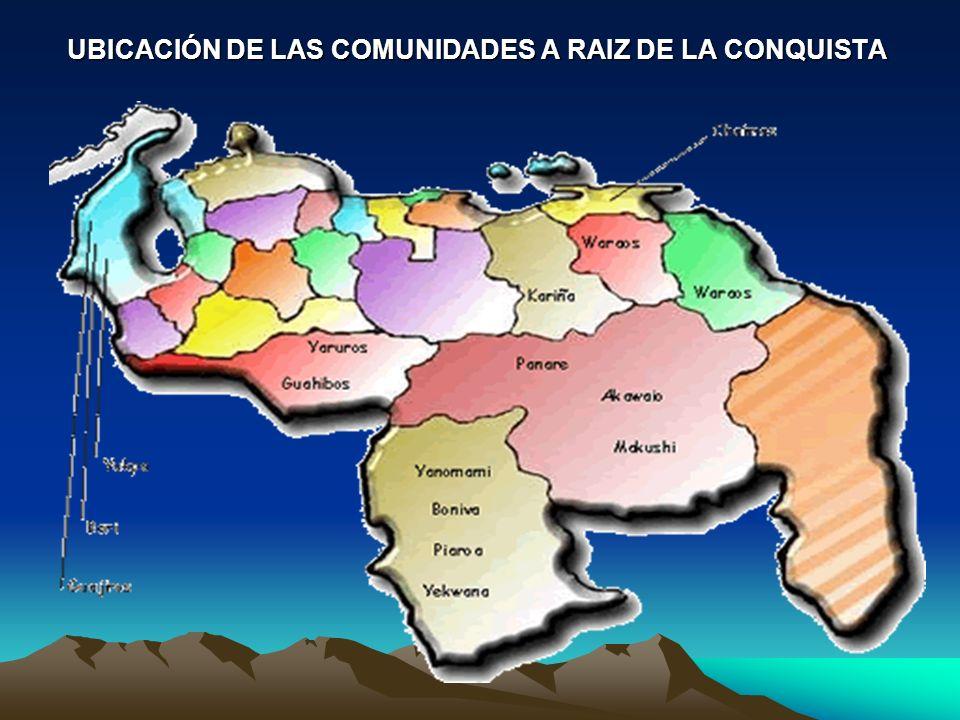 UBICACIÓN DE LAS COMUNIDADES A RAIZ DE LA CONQUISTA