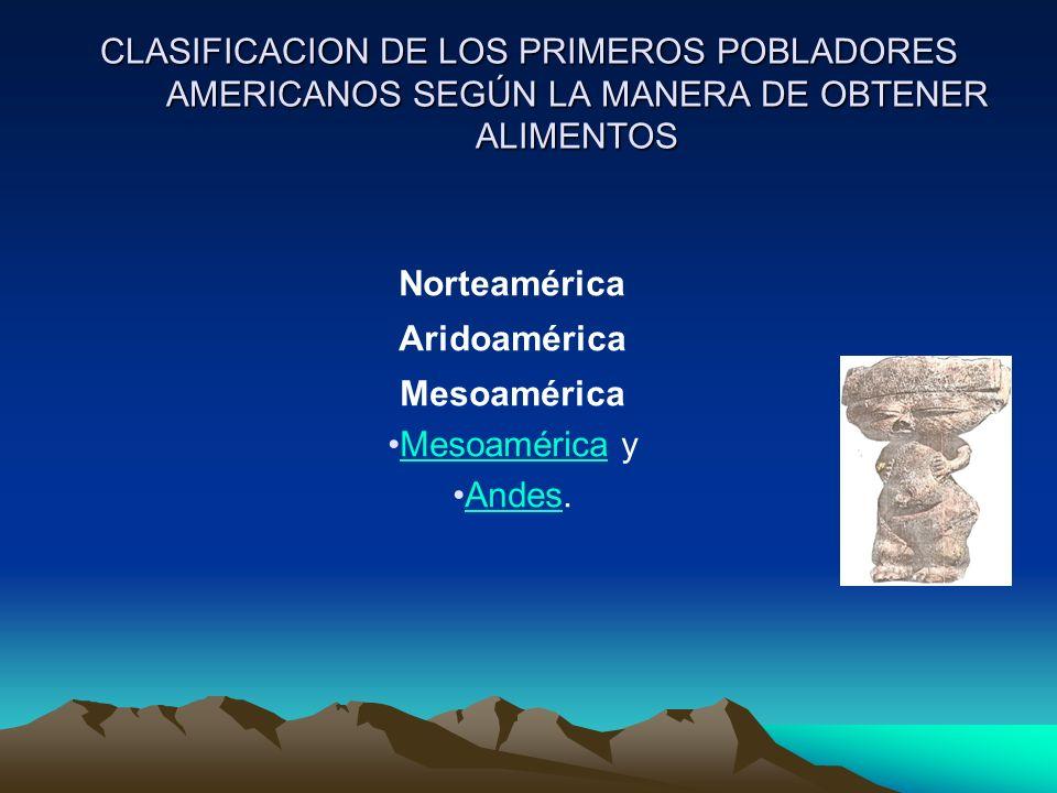 CLASIFICACION DE LOS PRIMEROS POBLADORES AMERICANOS SEGÚN LA MANERA DE OBTENER ALIMENTOS