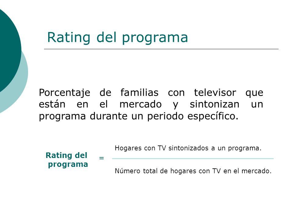 Rating del programa Porcentaje de familias con televisor que están en el mercado y sintonizan un programa durante un periodo específico.