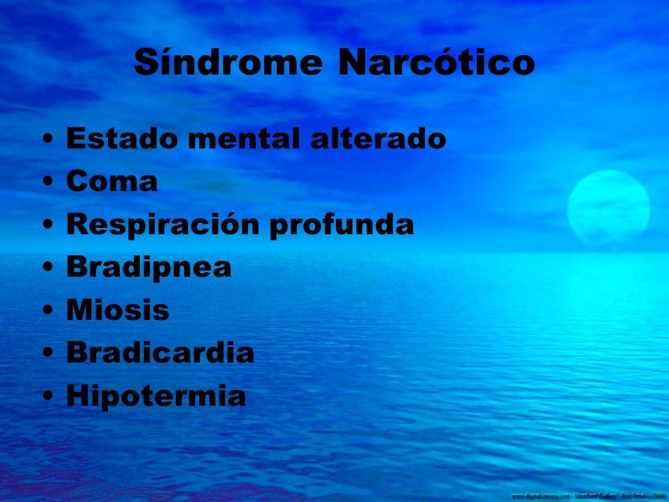 Síndrome Narcótico Estado mental alterado Coma Respiración profunda