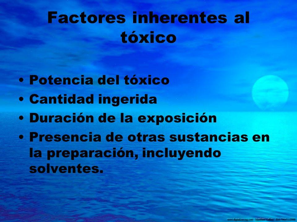 Factores inherentes al tóxico