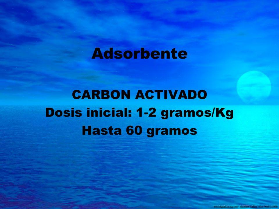CARBON ACTIVADO Dosis inicial: 1-2 gramos/Kg Hasta 60 gramos