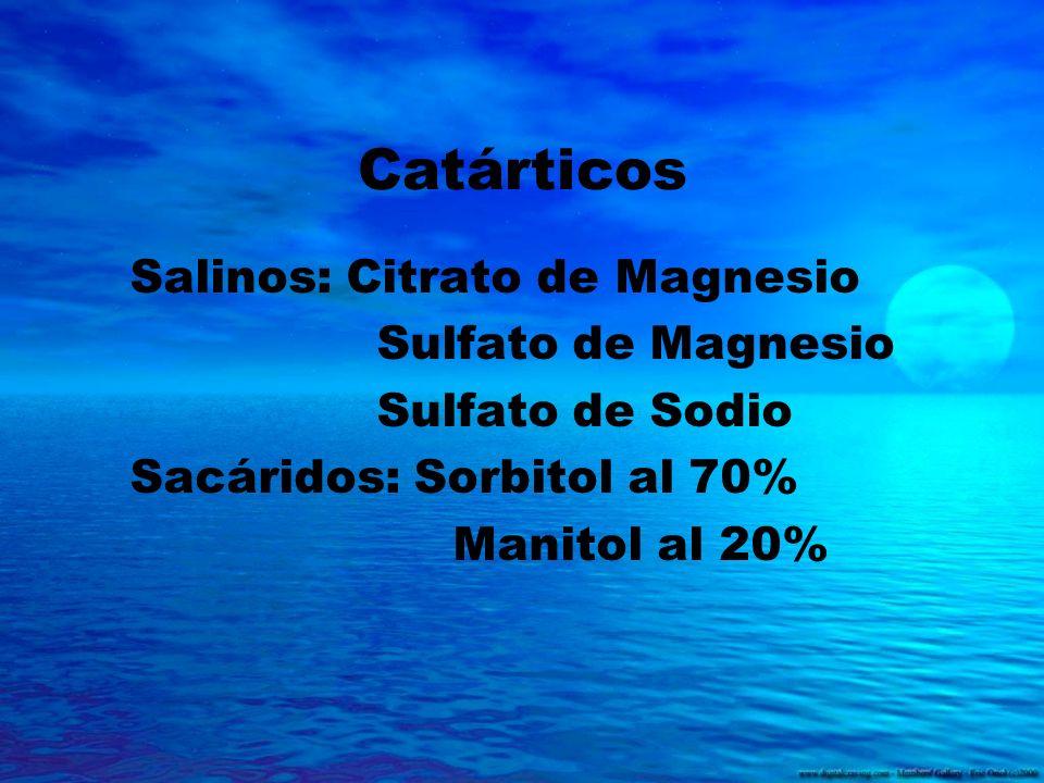 Catárticos Salinos: Citrato de Magnesio Sulfato de Magnesio