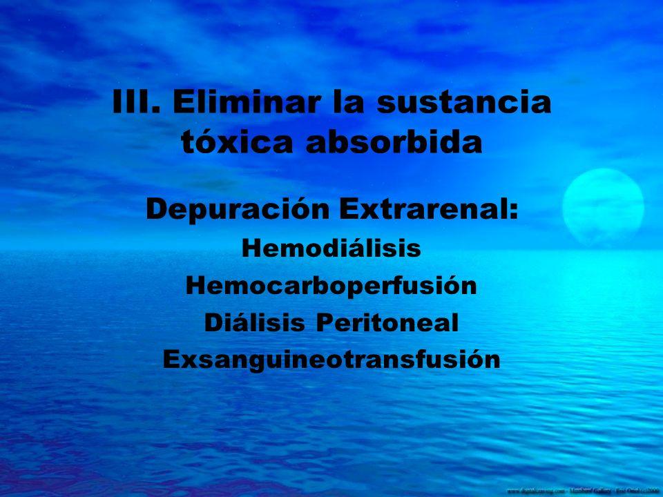 III. Eliminar la sustancia tóxica absorbida