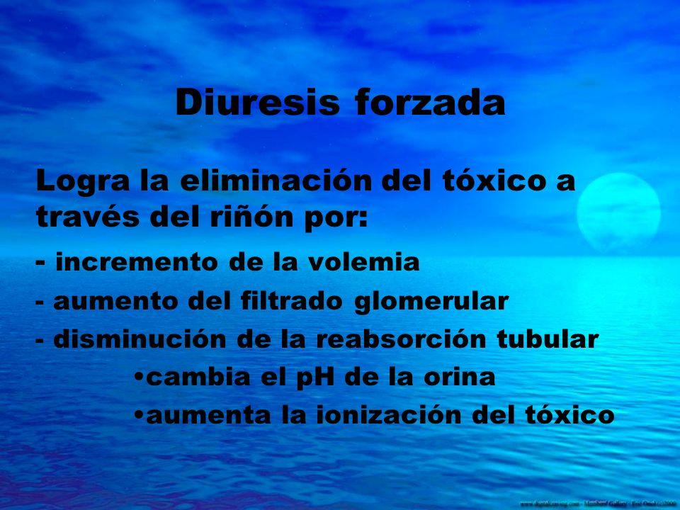 Diuresis forzada Logra la eliminación del tóxico a través del riñón por: - incremento de la volemia.