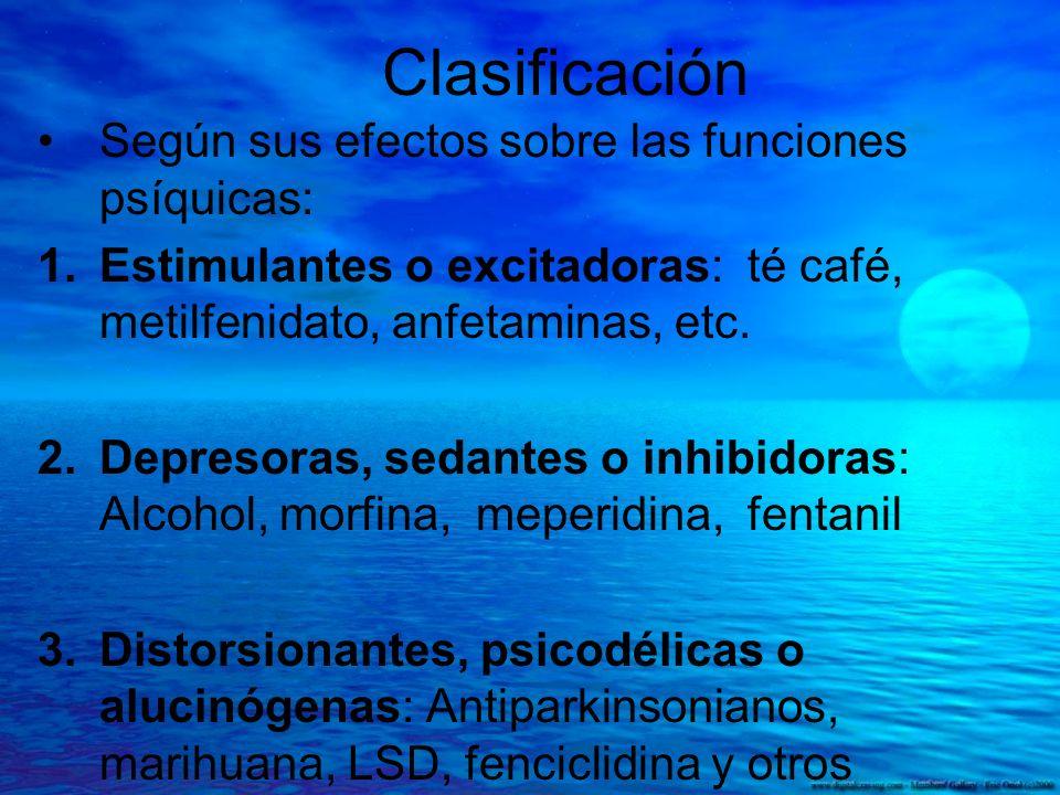 Clasificación Según sus efectos sobre las funciones psíquicas: