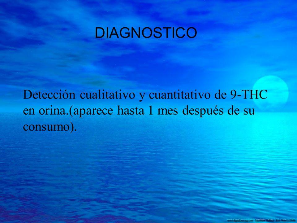DIAGNOSTICO Detección cualitativo y cuantitativo de 9-THC en orina.(aparece hasta 1 mes después de su consumo).